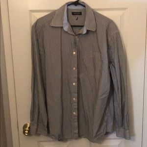 GREY NAUTICA STRIPED BUTTON DOWN L/S